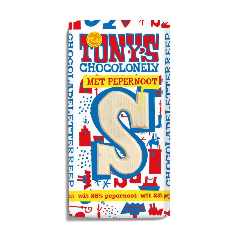 Tony's Chocolonely Letterreep Witte chocolade pepernoot
